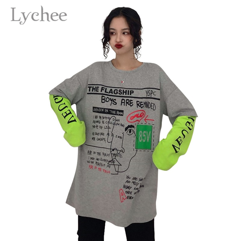 Lychee Harajuku falso dos piezas Hit Color Camiseta de manga larga letra femenina camiseta Casual suelta camiseta Top