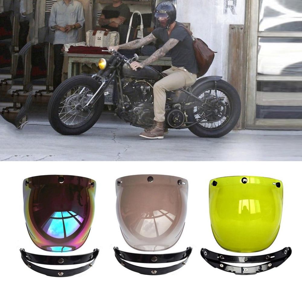 Motocicleta casco con parabrisas Vintage cascos con estilo 3 fotos Jet casco para motos Harley estilo casco burbuja Visor 400 UV protección