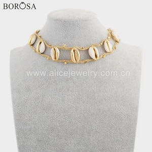 BOROSA 2PCS Handmade Necklace Jewelry, Fashion Eleven Gold Color Natural Cowrie Shell Adjustable Rope Choker Jewelry HD0020