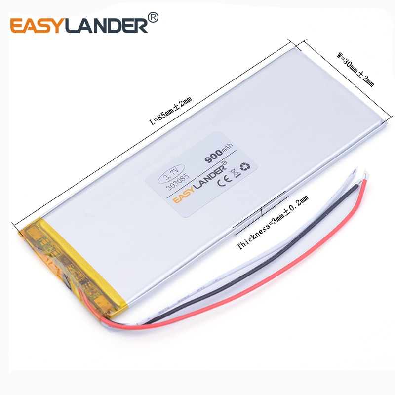 3pcs /Lot 3.7v lithium Li ion polymer rechargeable battery 3 wire 303085 900mAh interphone GPS MP3 MP4 MP5 Rechargeable bat