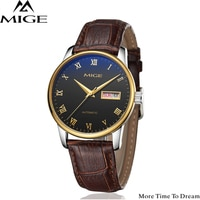 Mige 2018 Top Brand Luxury Hot Sale Automatic Mens Watch Skeleton Steel Brown Leather Black Waterproof Man Mechanical Watches