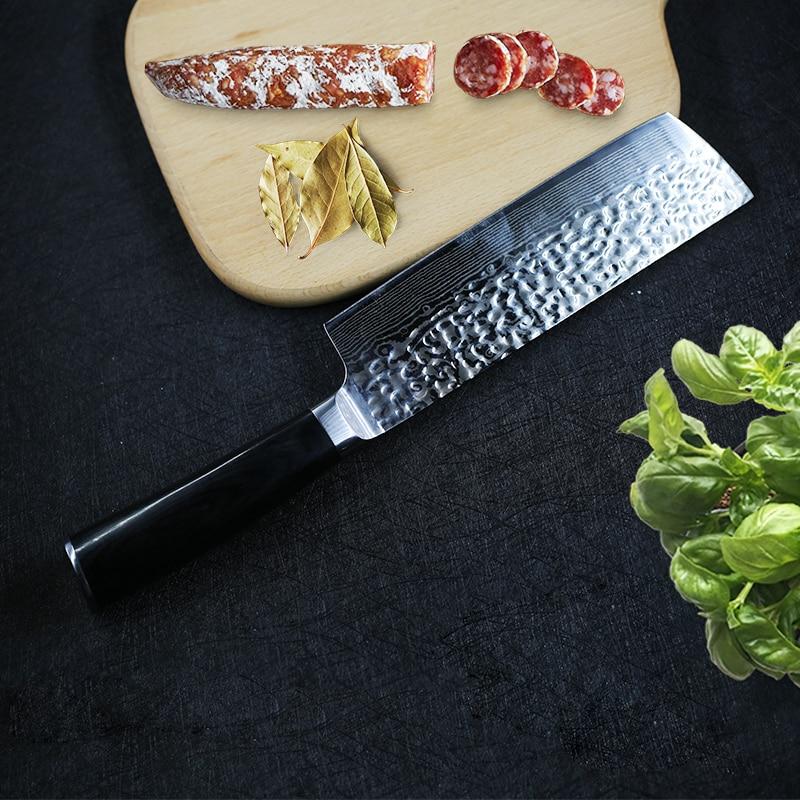 Damasco cuchillos de cocina cuchillo japonés Nakiri 7cr17 Acero inoxidable Chef rebanando carne vegetal utensilio de cocina Cuchillo de cocina