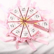 Boîtes à bonbons de mariage en forme de gâteau   Coffret cadeau rouge vin rose avec rubans à impression en marbre, fournitures pour fête, nouveauté 2019