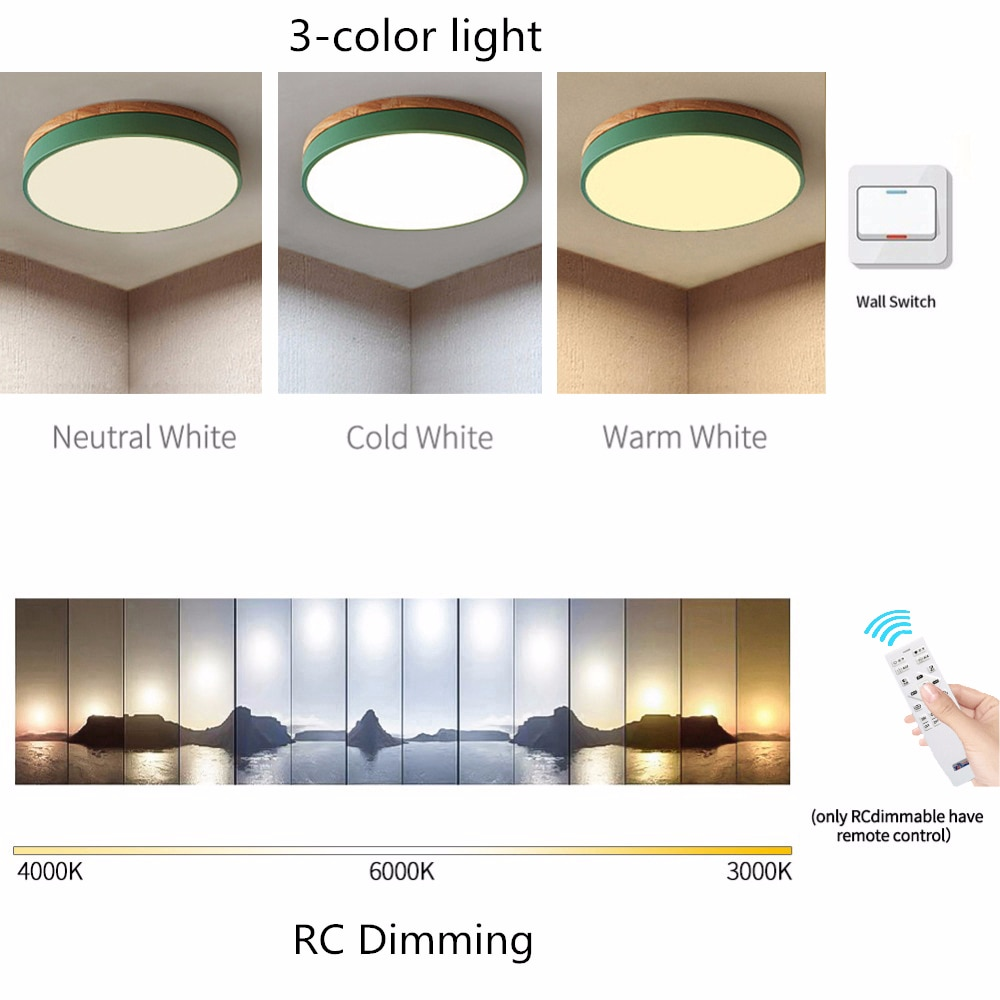 Ultra-thin 6cm Circular LED Ceiling Lamp Modern Macaron Solid Wood Ceiling Light For Kindergarten Restaurant Cafe Home Decor  - buy with discount