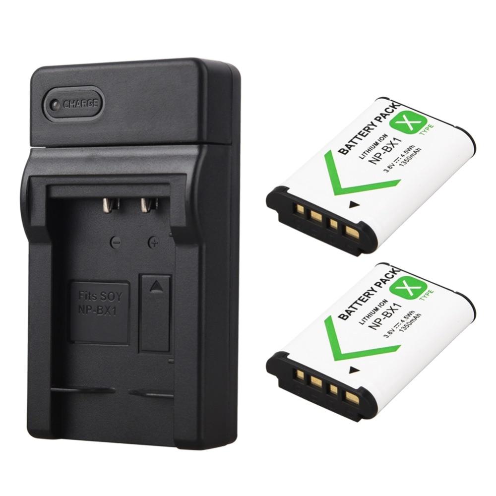 2x1350mAh Bateria NP-BX1 NP BX1 Battery+ USB Charger for Sony DSC RX1 RX100 M3 M2 RX1R GWP88 PJ240E AS15 WX350 WX300 HX300 HX400