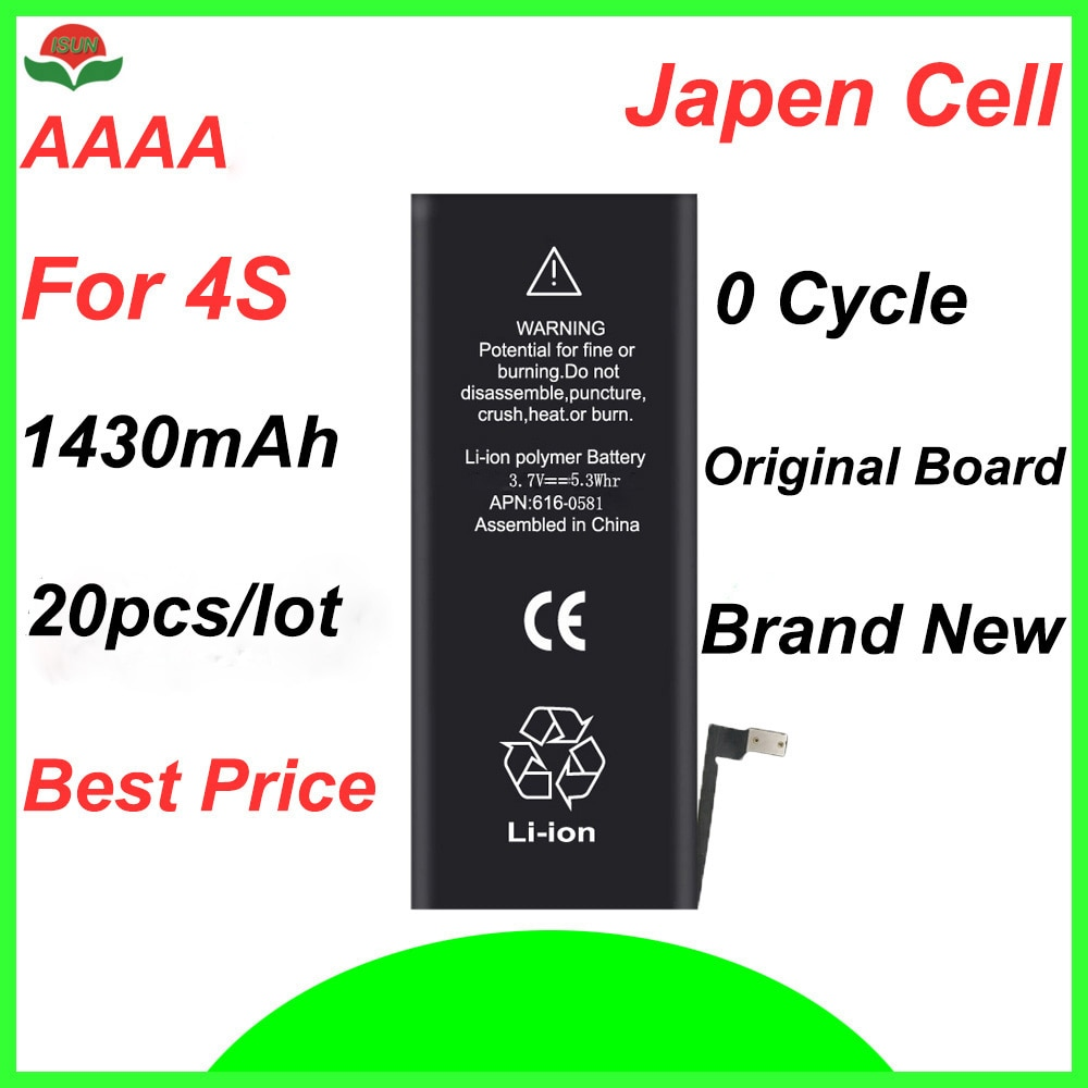 ISUN 20 4S pçs/lote AAAA Para iPhone Bateria de Substituição APN 616-0580 1430mAh