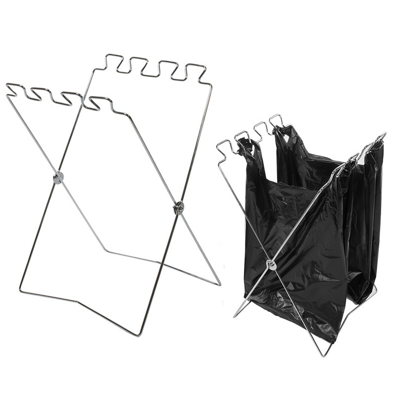 Outdoor trash bag holder  Hanger foldable portable camping gear equipment