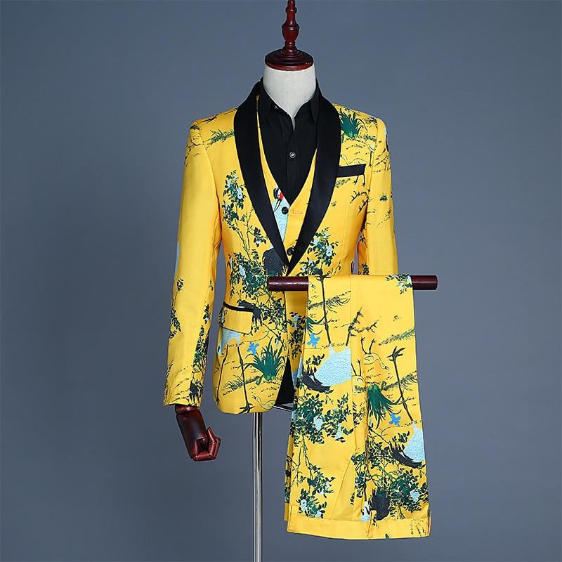 платье модель туника детское barkito желтые цветы желтое с белой отделкой Мужской костюм и жилет из трех предметов, жилет, брюки, желтое платье с принтом, однобортный, китайский стиль, желтые мужские костюмы
