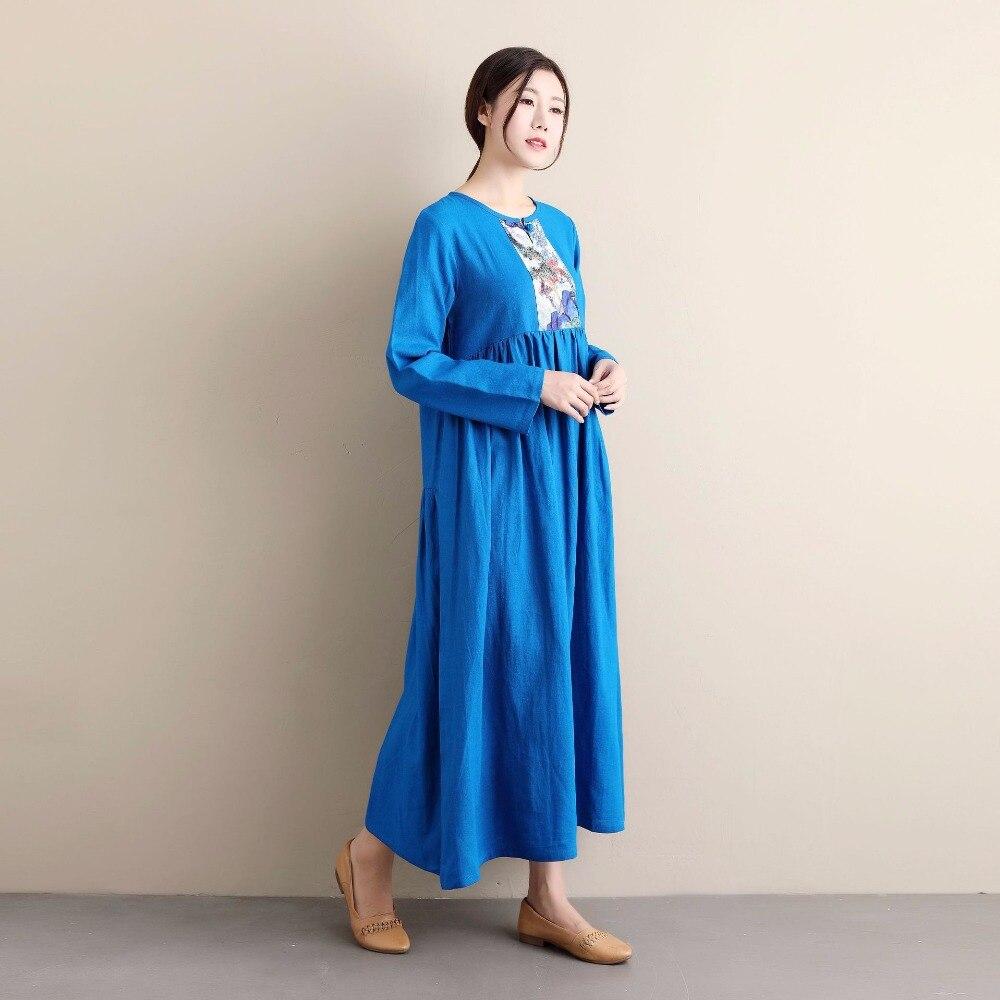 الصيف منتجات جديدة الأزرق الأبيض زهرة الصينية العتيقة الزهور اللباس جولة الرقبة بأكمام طويلة القطن الكتان خمر التطريز اللباس