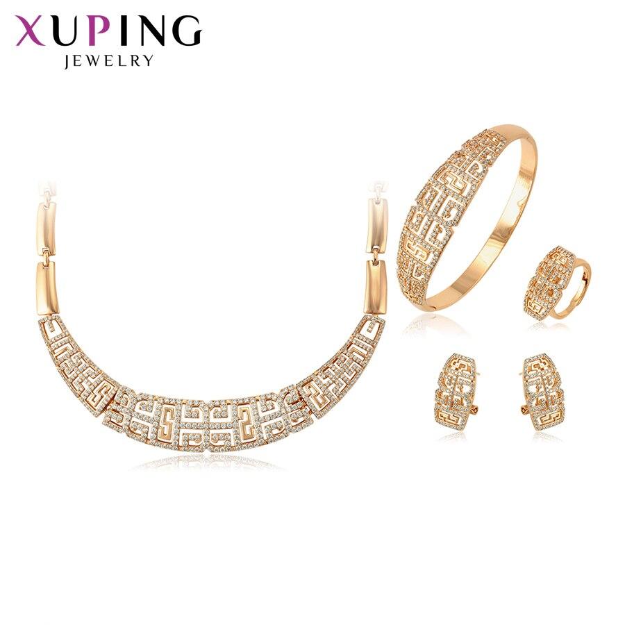 Conjunto de moda Xuping recién llegado para regalos de mujeres elegante Color dorado plateado juegos de joyas de imitación S124.3-65238