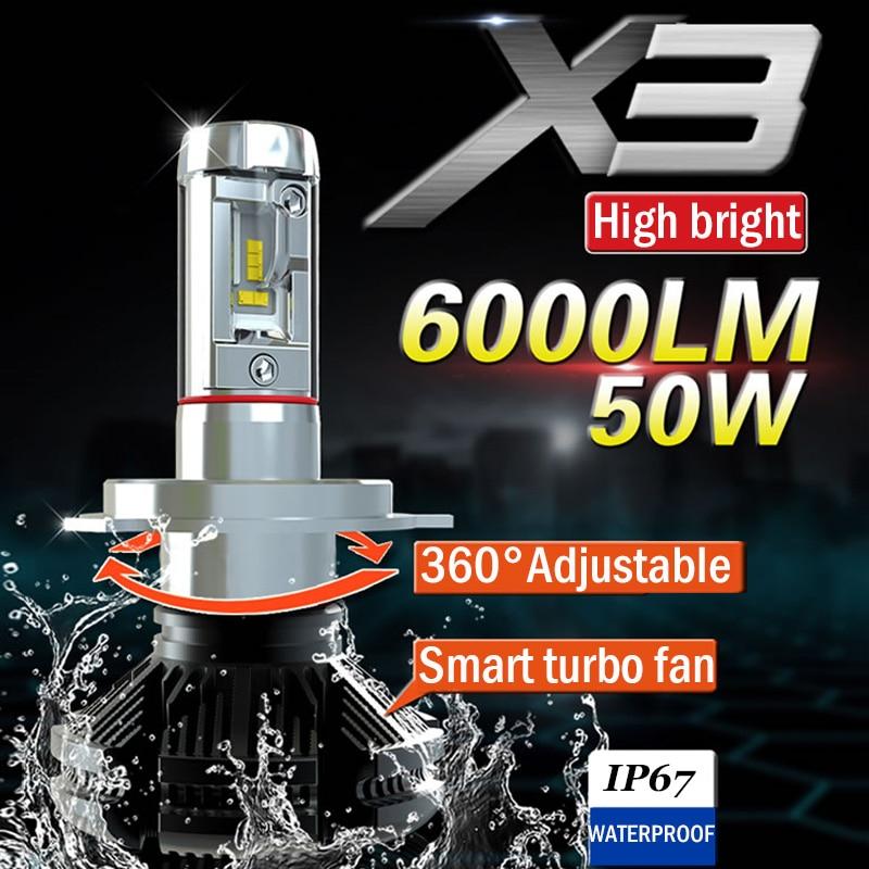 Xplus X3 дальний/ближний свет H4 H7/11 9005/6 HB3/4 светодиодный автомобильный головной светильник, лампы 50 Вт 6000LMAll в одном ZES, противотуманный светильн...