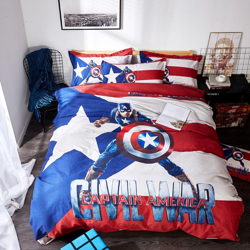 Juego de cama de Capitán América de Disney, de tamaño doble colcha, edredón de Reina, edredón, fundas para edredón, decoración de dormitorio de niños, 100% de algodón, 3-5 uds. Para niños