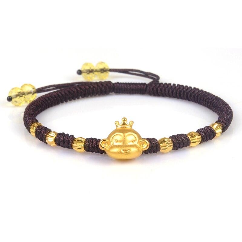Pure 24K Yellow Gold Bracelet Woman's Man Luck Zodiac Monkey Bead Brown Rope Bracelet 6.3inchL Fashion Luck Link Chain 1.5-2g