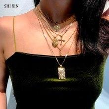 SHIXIN Boho Multi couches collier ras du cou pour les femmes séparables 5 chaîne croix Rose Rectangle pendentif mode Hippie bijoux femme