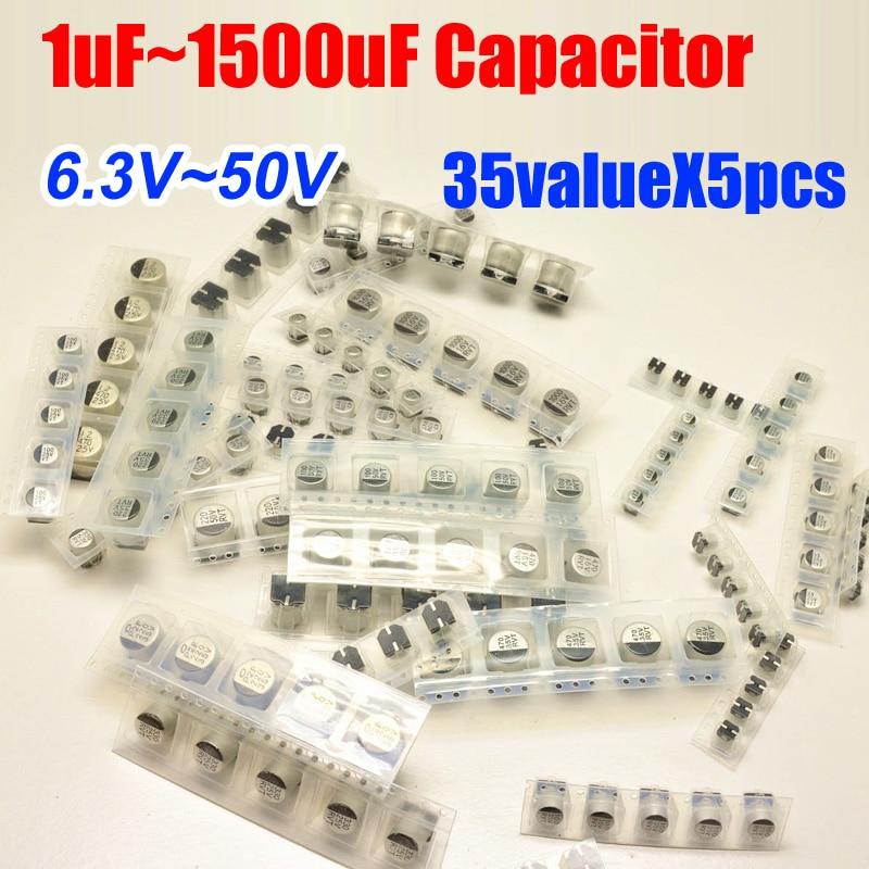 35valuesX5 Uds = 175 Uds SMD 6,3 V ~ 50V 1uf ~ 1500uf Paquete de Kit de surtido de condensadores electrolíticos de aluminio para la placa base de la computadora
