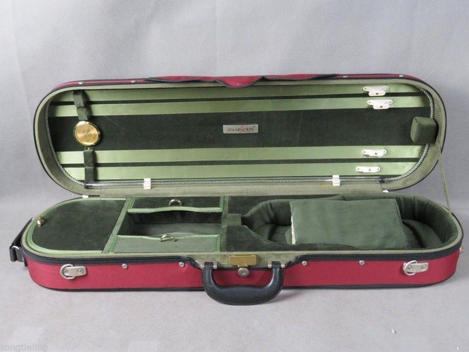 Nueva Marca Tonareli 4/4 caja oblonga dura de violín rojo de madera