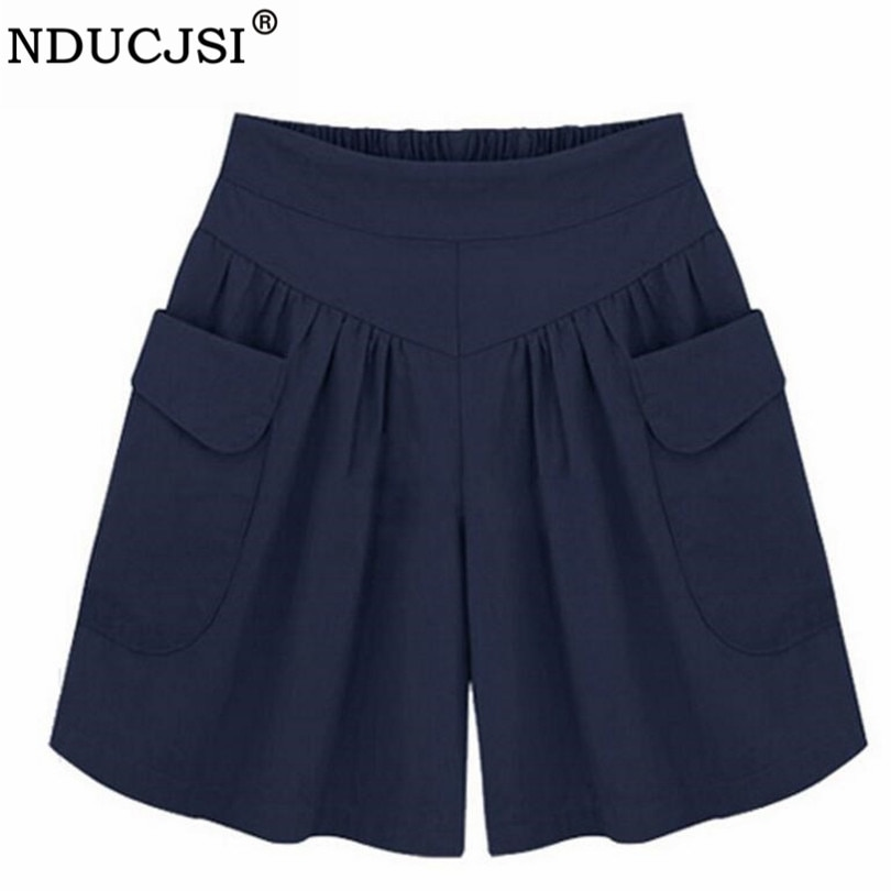 NDUCJSI Casual Shorts Women Summer Elastic Waist Short Pants Loose Black Navy Soft Cotton Femme Stre