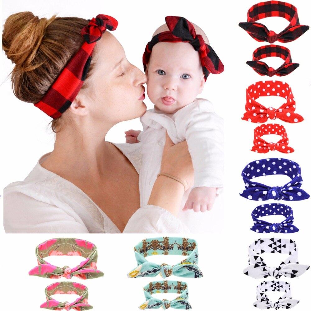 Puseky 2 Teile/satz Mom Mutter & Tochter Kinder Baby Mädchen Stirnband Haar Band Kaninchen Ohren Stirnbänder Floral Print Haar Zubehör
