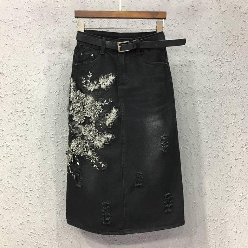 2017 летняя и весенняя женская мода, с высокой талией, с вышивкой, с карманами, черная, рваная, женская, хлопковая, 4xl, 5xl, джинсы, юбки