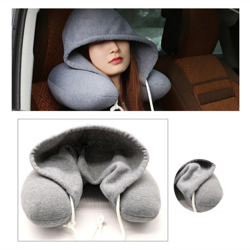 Multi-Function U-Shape Headrest 30x28cm Memory Foam Neck Pillow With Cap Latex Particle Filler Car Travel Office Snap pillow