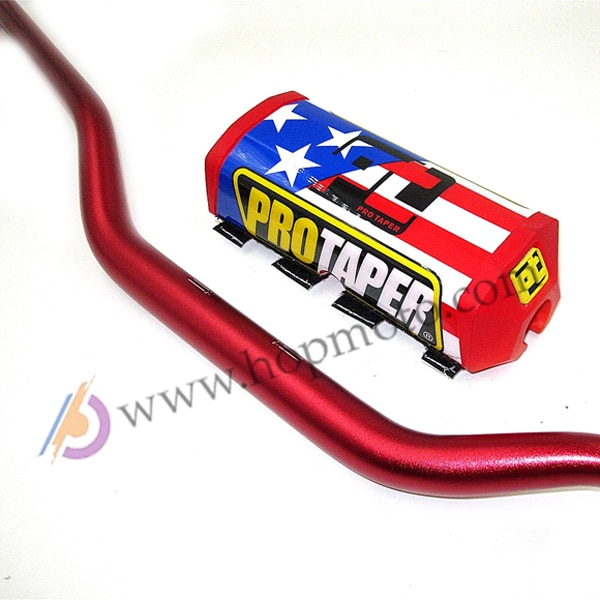 "Manillar 1-1/8 ""Dirt Bike MotorCross Bar MX ALUMINIO Racing HandleBar 810mm envío gratis con cuadrado PRO TAPER Bar Pad rojo"