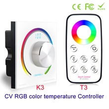 Nouveau CV RGB contrôleur rotatif RGB panneau contrôleur RF montage mural sans fil télécommande DC 12V 24V pour 5050 3528 RGB Led bande