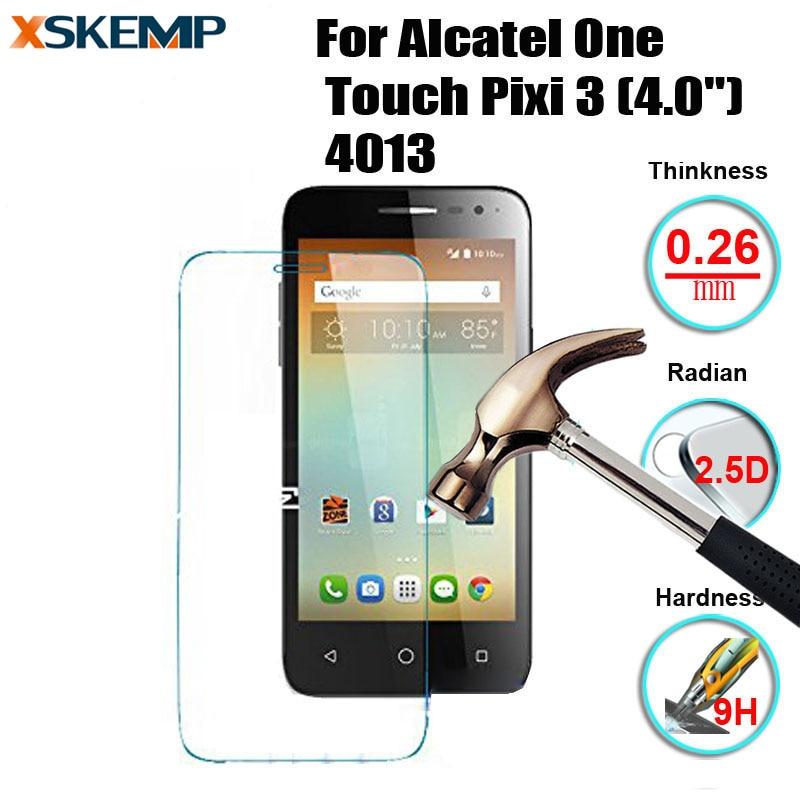 "Vidrio templado sin huellas para Alcatel One Touch Pixi 3 (4,0 "") película protectora de pantalla LCD 4013 D, X, E"