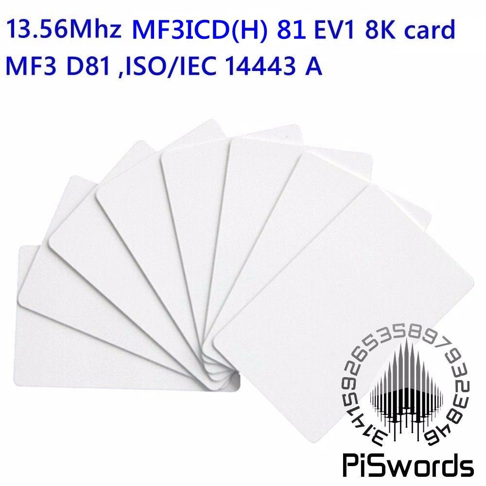 13.56 mhz nfc rfid cartão em branco mf3icd (h) 81 ev1 8 k m3 ic d81 iso14443a pvc cartão em branco