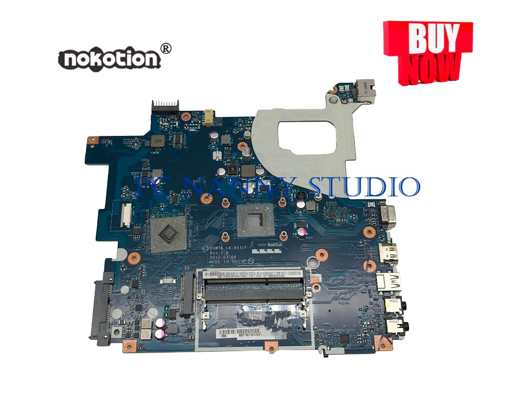 PCNANNY NBY1G11002 para la placa base del ordenador portátil Acer Aspire E1-521 placa base Q5WT6 LA-8531P DDR3 probada