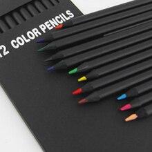 12 couleurs dessin peinture Art crayon crayons de couleur école papeterie noir en bois crayons étudiant cadeaux de haute qualité