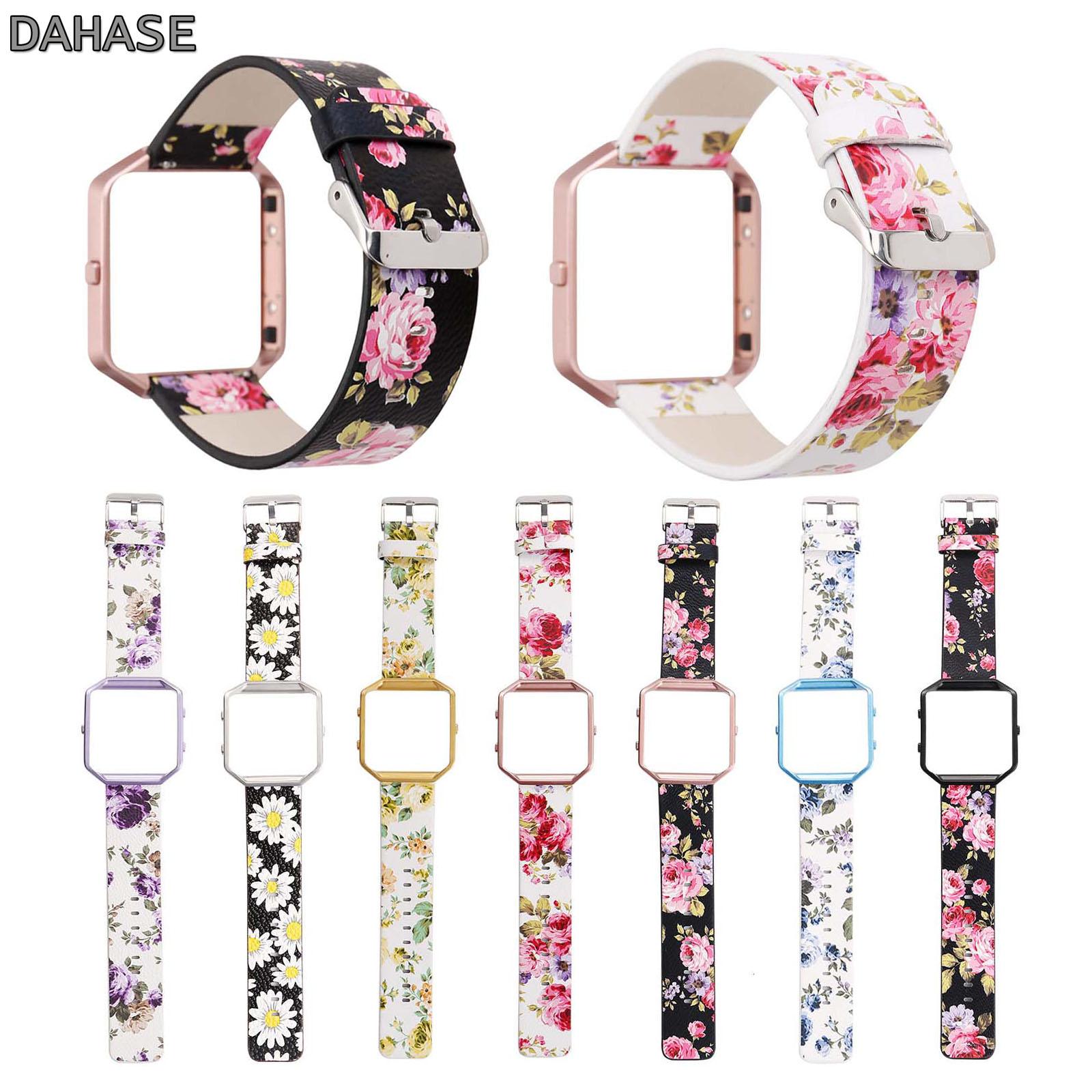 DAHASE Floral Pulseira De Couro 23mm Cinta Flor Pulseira De Relógio de Substituição Para Fitbit Banda Chamas w Frame Colorido do Metal