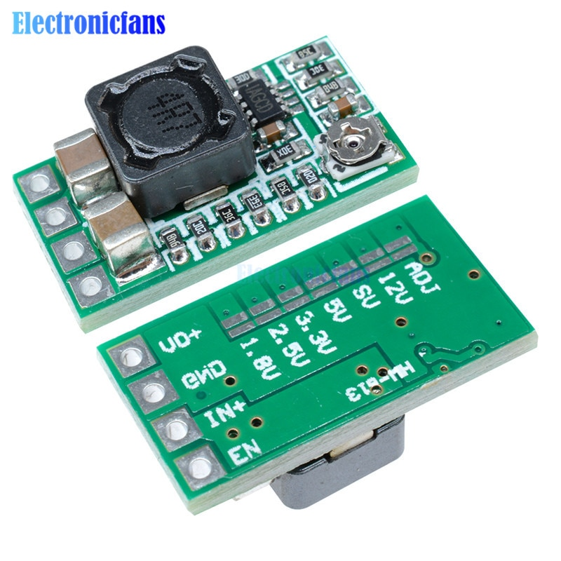 5 uds Mini DC-DC 12-24V a 5V 3A reductor módulo de fuente de alimentación voltaje convertidor Buck ajustable 97.5% 1,8 V 2,5 V 3,3 V 5V 9V 12V