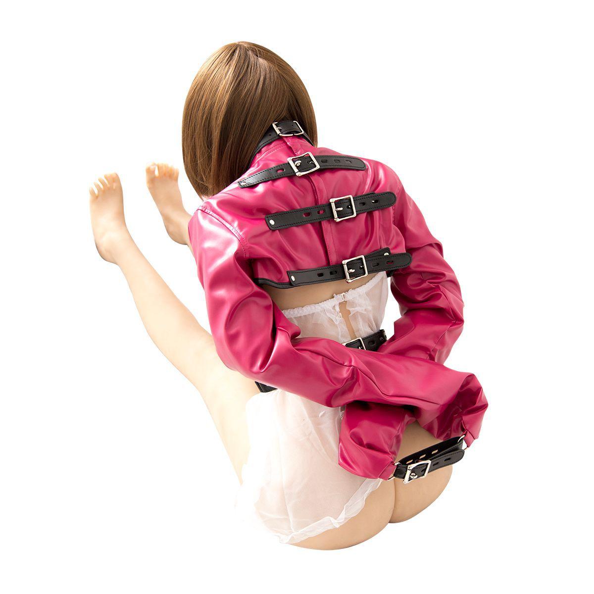 Couro ajustável arm binder straitjacket bdsm bondage restrição adulto jogos em linha reta jaqueta fetish arnês algemas roupas