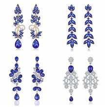 Minmin 12 types déclaration fleur coloré cristal longue goutte boucles doreilles Unique brillant strass coréen boucle doreille 2019 bijoux de mode