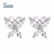 Boucles doreilles zircon papillon de marque célèbre boucles doreilles papillon romantiques sont coulées pour les femmes seulement ER-114