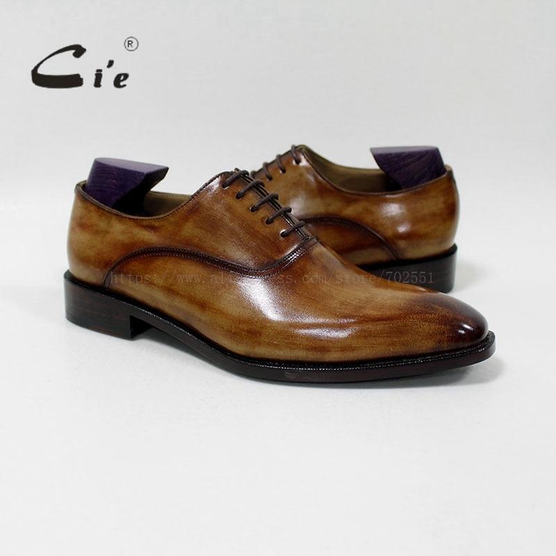 cie square plain toe handmade 100%genuine calf leather breathable men's dress oxford blake craft patina brown shoe OX-01-16