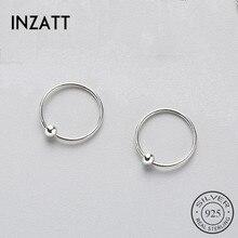 INZATT minimaliste réel 925 en argent Sterling rond petit cerceau boucles doreilles accessoire à la mode pour les femmes petite amie bijoux cadeau de fête