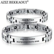 Bracelets et Bracelets magnétiques sains en acier inoxydable bijoux pour hommes femmes Couple Bracelet croix forme graver nom ID bijoux