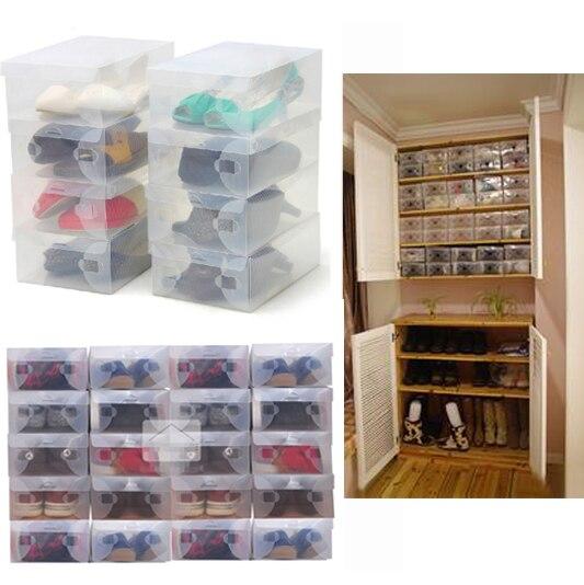 Cajas de plástico transparente para guardar zapatos, 10 Uds., estuche protector plegable para zapatos
