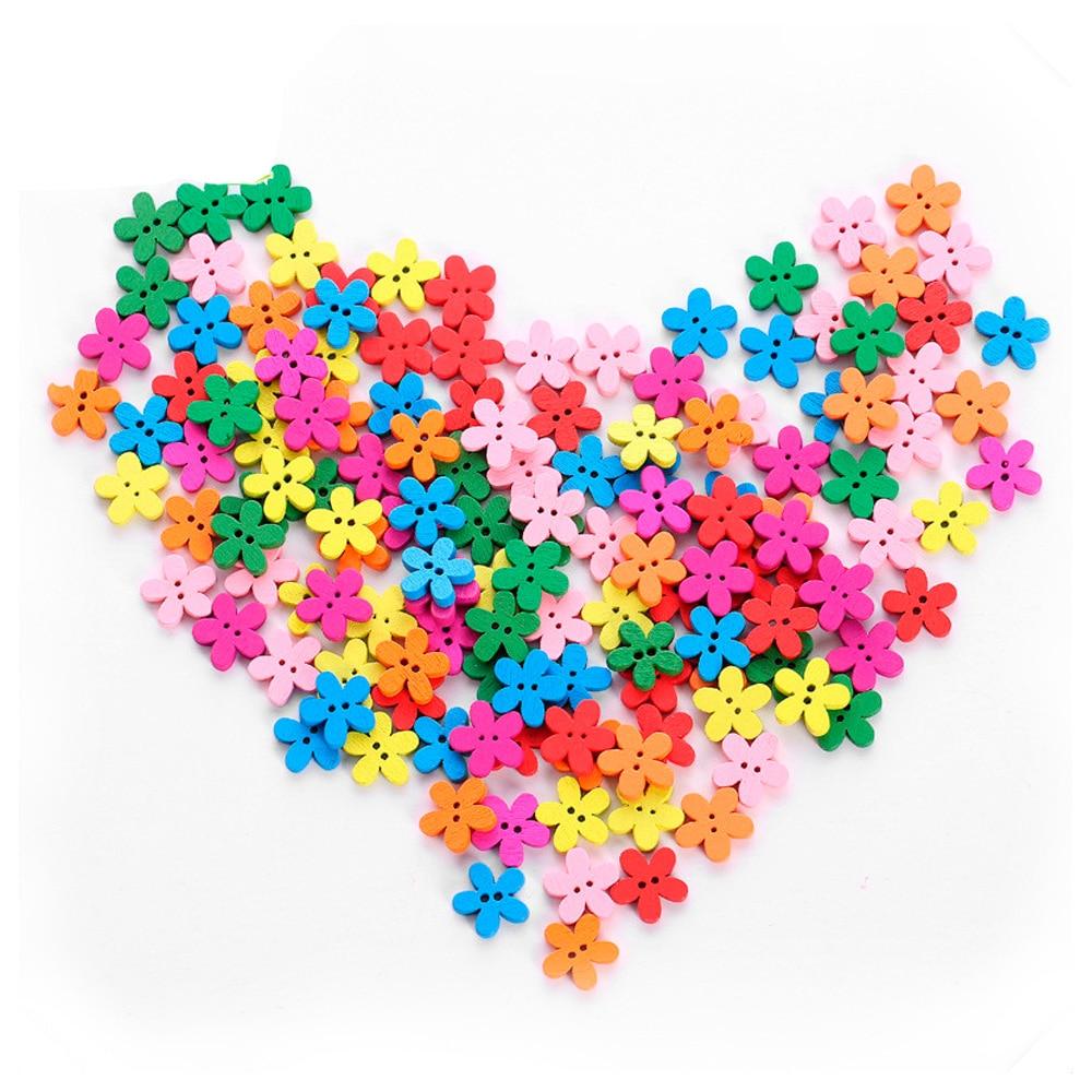 200 piezas/paquete flores botones de madera de forma de botón de 15mm de los niños botones