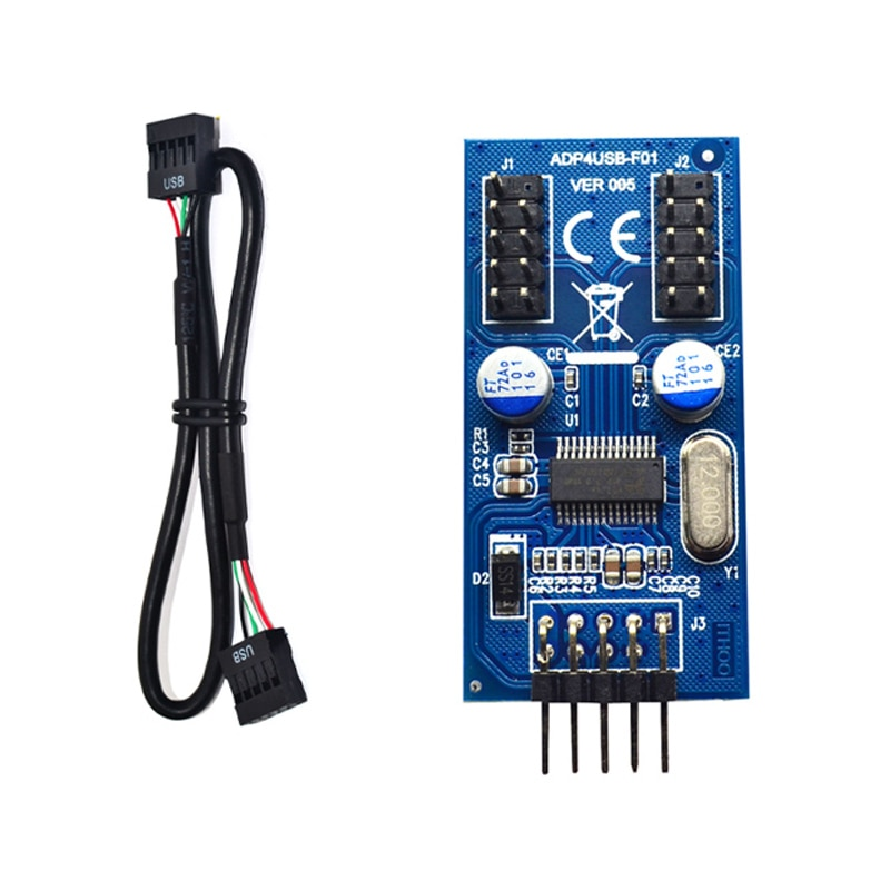 Conector USB de 9 pines macho de 1 a 2 o 4, cable de extensión hembra, tarjeta de escritorio de 9 pines, HUB USB 2,0, conector USB de 9 pines, adaptador de puerto Multilier