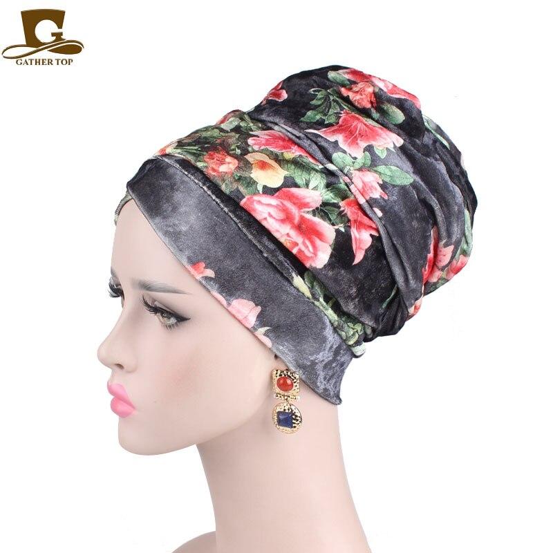 5 sztuk/partia tanie 2018 nowych kobiet luksusowe kwiatowy aksamitne Turban nigerii turban hidżab Extra długie rurki szef Wrap muzułmańska chusta turbante