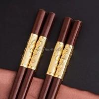 100 pairs chinese chopsticks reusable sushi food stick red sandalwood wood chopsticks tableware wedding party gift