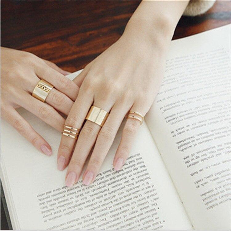 Anillo ajustable liso de Metal de tres piezas a la moda coreana con apertura, ancho, personalidad estilo Punk, anillo Neutral de tendencia salvaje