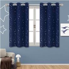 Shiny Stars Fabric Children Room Window Curtains For Kids Boy Girl Bedroom Living Room Blue/Pink Blackout Cortinas Custom Drape