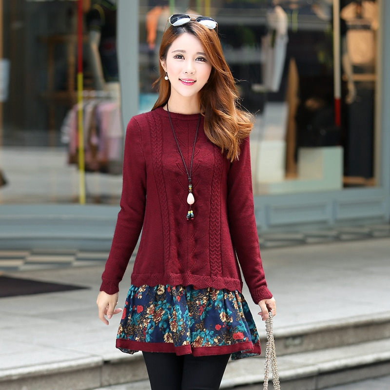 New maternity dress long sleeve knit clothes A dress for pregnant women in spring and Autumn enlarge