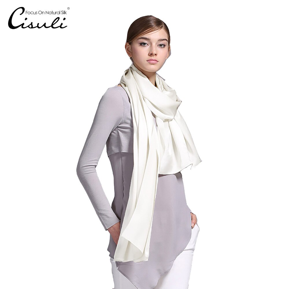 100% Silk Satin Long Scarf 55X180cm Pure Mulberry Silk Plain Color Silk Scarf Factory Direct Online Store 26 Natural White Color