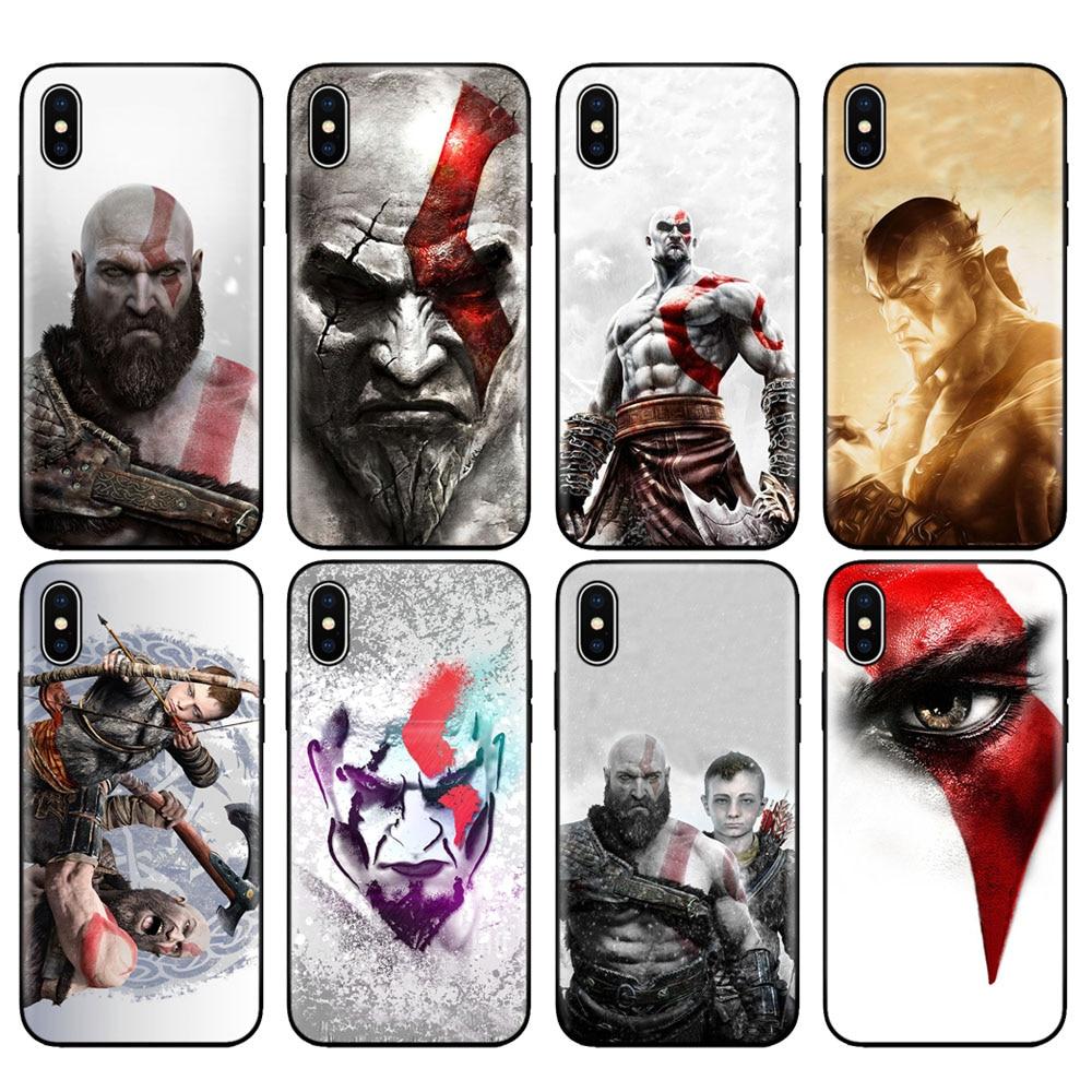 Funda de tpu negra para iphone 5 5s SE 2020 6 6s 7 8 plus x 10, funda de silicona para iphone XR XS 11 pro MAX, funda de Dios de la guerra Kratos