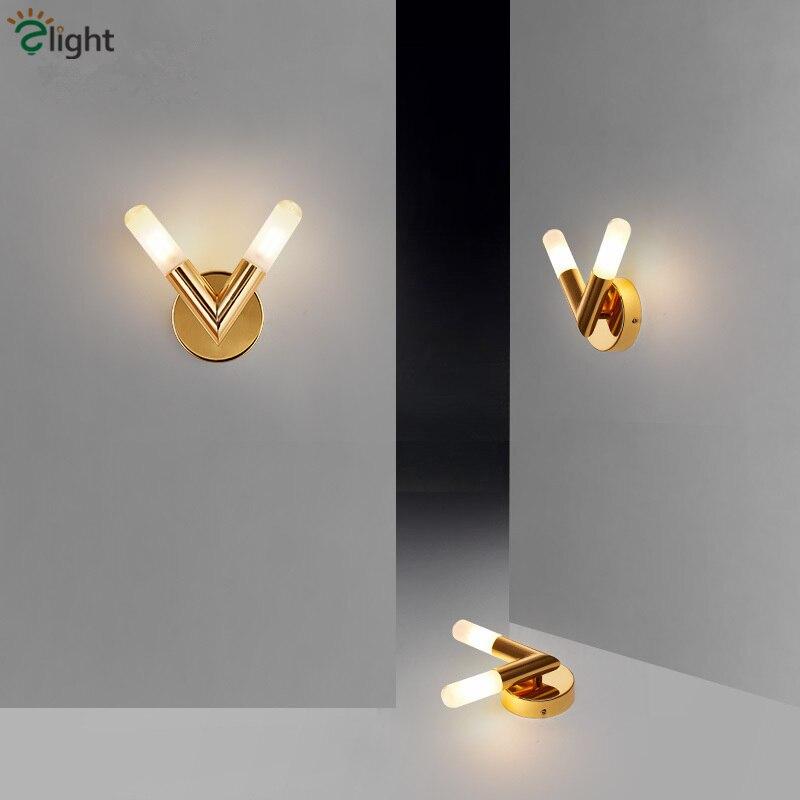 Post Modern 2 Luz V Forma Levou G9 Lâmpada De Parede placa de Ouro Arandelas Lustre Quarto Sala de estar Luz de Parede Interior iluminação