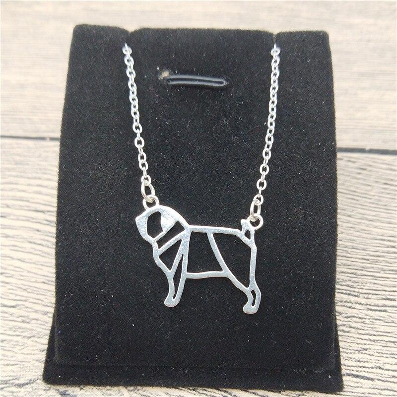 New Origami Pug Necklace Trendy Style Origami Pug Pendant Necklace Women Fashion Pet Dog Jewellery